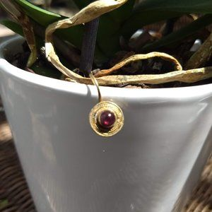 single dainty sterling silver earring round garnet